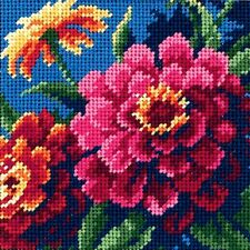 COLOFUL ZINNIAS NEEDLEPOINT KIT by JANLYNN