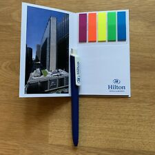 Hilton Hotels Pen Sticky Notes Notepad Resorts Office Supplies Rare HTF H Double
