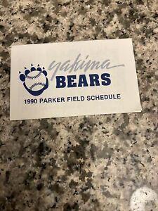 1990 Yakima Bears Baseball Pocket Schedule 7-Up Version Dodgers Affiliate