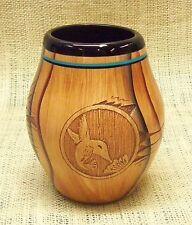 Native American Dwayne Blackhorse Wood Grain Look Pottery Hummingbird Jar