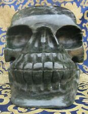 Antique Hand Carved Natural India Jade Chitipati Skull Head, Nepal