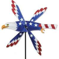Patriotic American Flag Eagle Whirligig Wind Spinner 18""