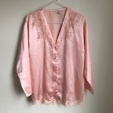 Vintage Victoria Pajama Set Satin Peach Lace Top Pants Womens Medium GUC
