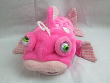 PINK GINGHAM FISH GOOGLY MOVING CROSS EYE KISSY FISHY PLUSH TOY SOFT - NO SOUND