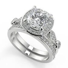 1.9 Ct Cushion Cut Halo Pave Set Diamond Engagement Ring Set SI2 G White Gold
