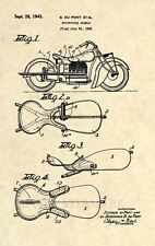 Official 1943 Indian Motorcycle US Patent Art Print- Vintage Antique Saddle -294