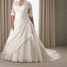 Half Sleeve Lace Wedding Dress Bridal Gown Custom Plus Size 14 16 18 20 22 24 26