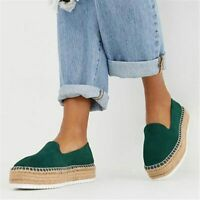Faux Suede Espadrilles Shoes Slip-on Casual Loafers Women Platform Flats Comfly