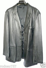 Mens L Uomo Black Leather Designer Blazer Size XXL Stylish in Great Condition