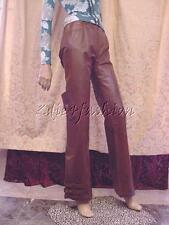 $2190 New JOHN GALLIANO Brown Leather Silk Lining Belts Buckles Pants 8 42