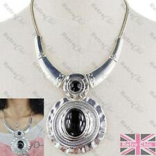 BIG round pendant NECKLACE collar antique metal choker BLACK/VINTAGE SILVER PLTD