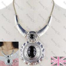 Redondo Grande Colgante Collar Cuello Metal Antiguo Gargantilla black/vintage Plata pltd
