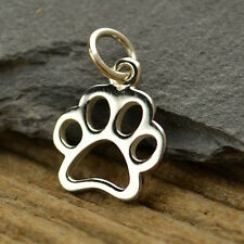 Sterling Silver Dog Paw Print Charm Animal Lover Openwork Pendant Pets 1209