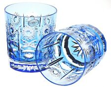AJKA Imperial Azure Light Blue Cut to Clear Cased Crystal DOF Whiskey Glass New