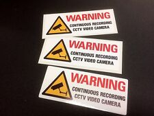 WARNING CONTINUOUS RECORDING CCTV VIDEO CAMERA DASH Stickers Decals 3 off 90mm
