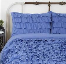 Shabby Violet Blue French Province Chic Ruffles King Bed Duvet Doona Quilt Cover