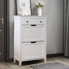 Retro Wooden Shoe Cabinet Storage Cupboard Hallway Rack Shelf with Drawer White
