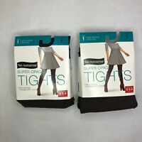 2 Pack No Nonsense Super Opaque Women's Tights Size L Control Top, Espresso, L
