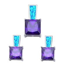 Sterling Silver Earring & Pendant Set Princess Cut Amethyst & Blue Opal .925