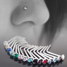10x Sexy Nose Body Piercing Stud Stainless Steel Multi Color Crystal Screw Ring