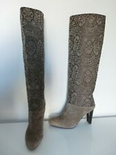 """GENUINE STUART WEITZMAN  BOOTS """"LACE""""  SUEDE LEATHER TAUPE 7.5 M KNEE HIGH MINT"""