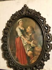 Vtg Cheswick Action Victorian Metal Oval Ornate Picture Frame Crafted In Italy