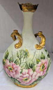 Antique 1890s - 1910s Jean Pouyat J.P. L. Limoges France Large Vase With Florals
