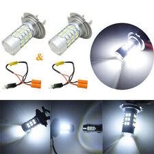 1 Pair Super Bright H7 3528-SMD White LED Xenon Light Bulbs+Decoder for Car DRL