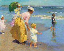 AT THE BEACH Edward Potthast, children seaside fine art CANVAS print