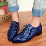 Women Wing Tip Brogue Oxfords Pointed Toe Lace Up Patent Leather Shoes Plus Size