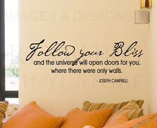 Wall Sticker Decal Quote Vinyl Lettering Follow Your Bliss Joseph Campbell I44