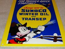 """VINTAGE """"SUNOCO"""" WINTER OIL W/ MICKEY MOUSE 12"""" X 8"""" BAKED METAL GASOLINE SIGN!!"""