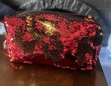 Hairtamin Flip Sequin Red And Gold Cosmetic Bag Dangling Gold Star Zipper