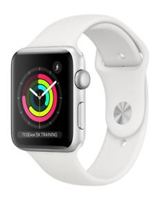 Apple Watch Series 3 38 mm Silver Aluminum Case White Sport Band Smartwatch - (M