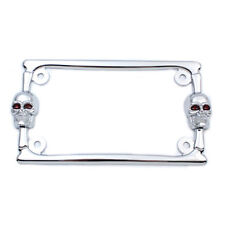"Chrome Skull License Plate Frame for 4"" x 7"" Harley Motorcycle Custom"