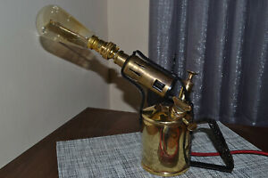 Retro Upcycled Unique Vintage Gas Lamp Blow Torch. Industrial Steampunk. Quirky