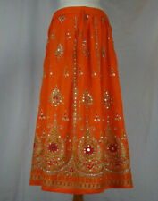 Indian Boho Hippie Long Summer Sequin Skirt Rayon Orange