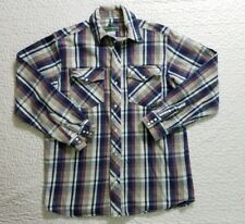 Berne Apparel Men Button Collared Shirt Long sleeve Pearl Snap Plaid sz Medium