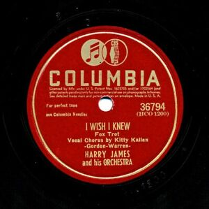 HARRY JAMES and his Orchestra on 1945 Columbia 36794 - I Wish I Knew