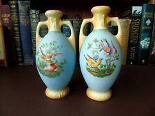 A Pair Of 19th c Austrian/Bavarian Porcelain Vases - Birds Decoration