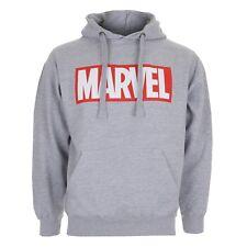 Marvel Mens Hoodie Hoody with Logo - Grey or Black - Sizes S-XXL