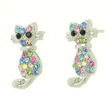 Cat W Swarovski Crystal Earrings Multi Color Love Cute New Elegant Charm