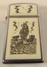 Vintage Late 1979 Scrimshaw // Zippo / Slim Lighter Ship & Whale ~ 1980 Logo