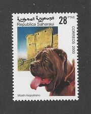 Rare Dog Art Portrait Stamp Neo Neapolitan Mastiff Head Study Spanish Sahara Mnh