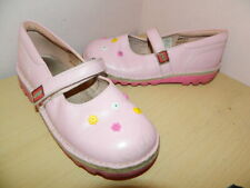 girls pink leather Kickers Lego flat shoes with fasteners uk 2 eur 34