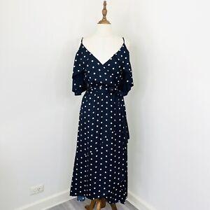 Witchery Womens Faux Wrap Midi Dress Black White Polka Dot Sun Dress Size 10