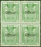 New Zealand 1943 5s Green SG0133 V.F MNH Block of 4