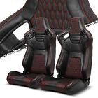 Pairs Blackred Stitching Pvc Leather Lr Racing Bucket Seatslider