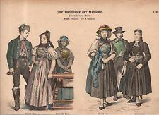 Chromo Fashion print of 1570 -1580 German Baden Bazaar shoppers