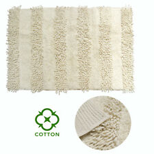 Shaggy Cotton Cream Bathroom Floor Bath Mat Blue 50 x 80 cm